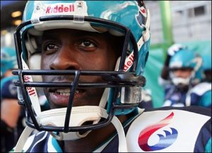 Chambers wearing an NFL europa Hamburg Blue Devils kit (Pic courtesy of BBC)