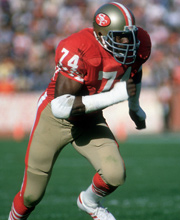 Fred Dean en-route to one of his Superbowl rings as a 49er
