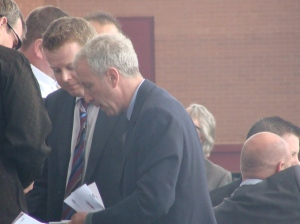 Randy Lerner signing autographs today at the Aston Villa v Manchester City game in Birmingham, August 17 2008