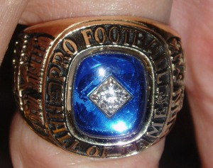 A close up of Ron Mix's Hall of Fame ring