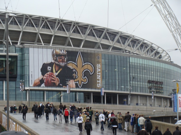 As usual the walk down Olympic Way was a soggy one - but seeing NFL brading made me happy