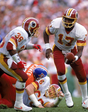 Timmy Smith (left) was so under the radar before Superbowl XXII that his blip did not register - 204 rushing yards later he became immortal