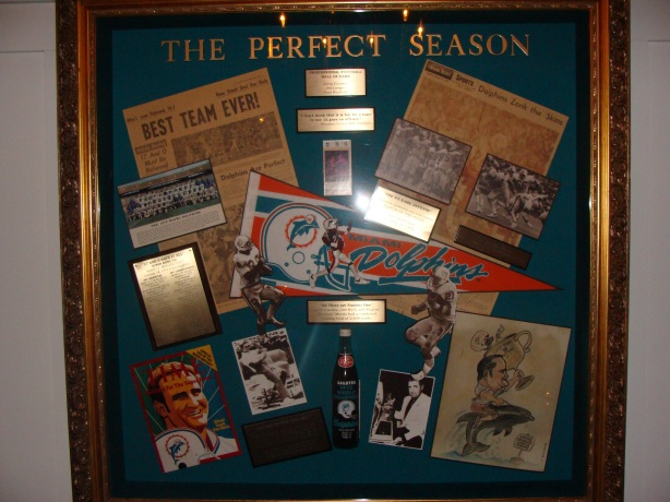 One of the 'Perfect Season' display boards at Shula's