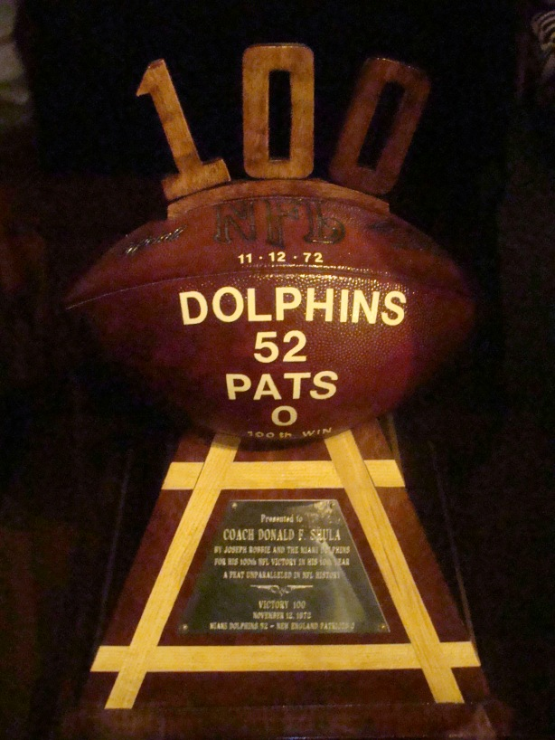 At Shula's was the ball given to Don to mark his 100th NFL  coaching win - a 52-0 whipping of the Patriots