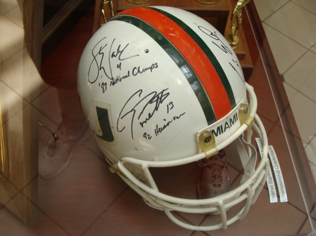 This helmet was signed by all 5 Miami National Champion quarterbacks