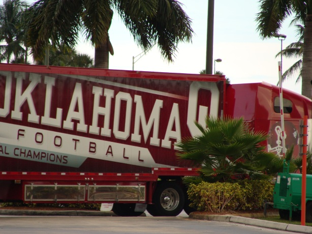 The Sooners truck was dropping off pads and helmets in Miami
