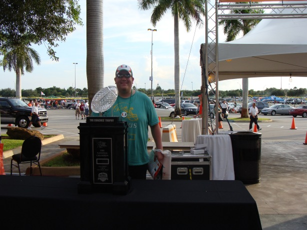 Not that anyone wants to see any more pictures of me on this blog but I could not resist having a snap taken with the 2009 NCAA Division 1 Football trophy.  It's all about the bling here in Miami