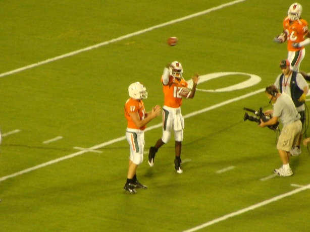 Jacory Harris warming up lets one rip......from his right hand