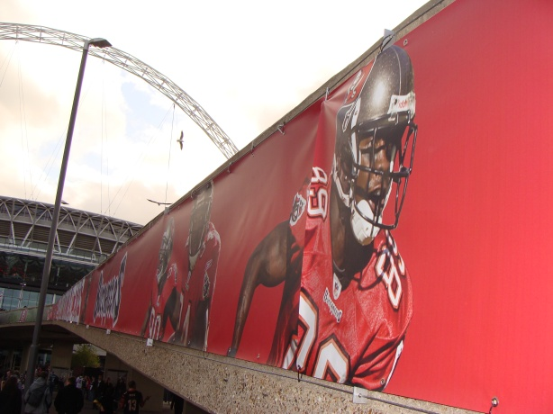 Some of the NFL branding on Wembley Way