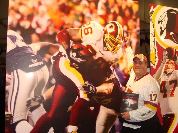 Here I am at the Redskins stand with a giant Clinton Portis wall