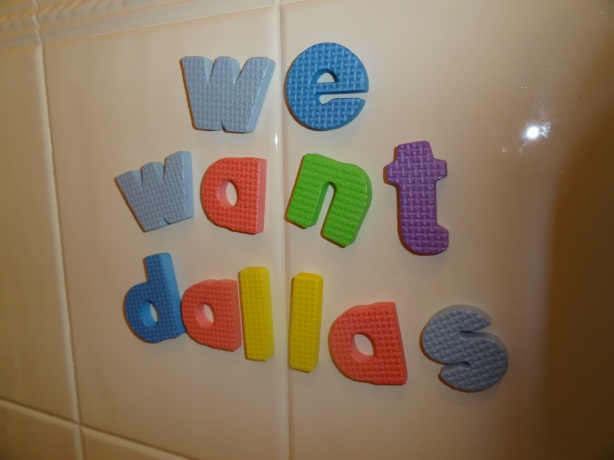 My one year old put these letters on the bathroom wall this evening