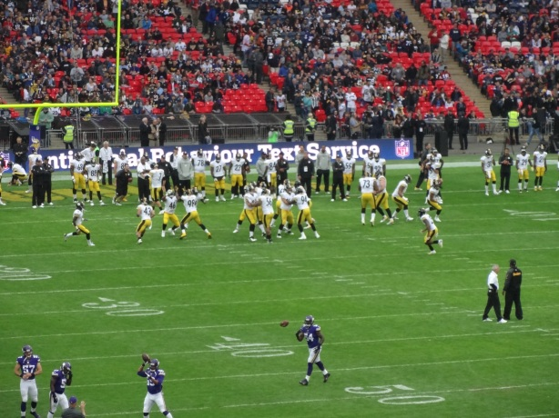 Bit far away but here are the Steelers warming up