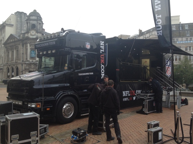 The NFL truck in Victoria Square, Birmingham, England.