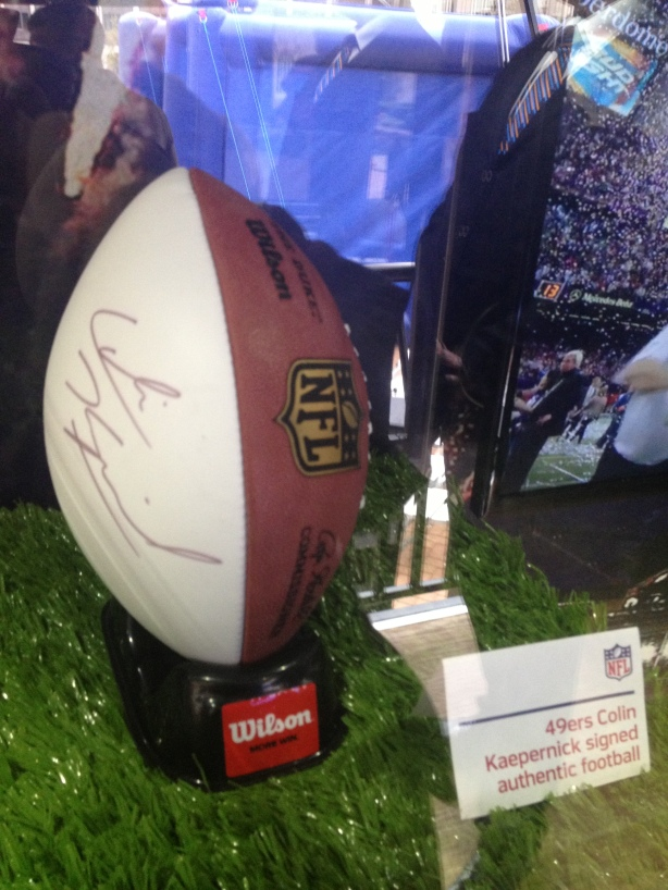 Colin Kaepernick signed a ball. He played in his first Superbowl earlier this year.